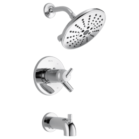 Valve Train Package - Delta T17T459-H2O Trinsic Thermostatic Tub and Shower Trim Package with Independent Volume Control, TempAssure Valve, and H2Okinetic Technologies - Less Valve