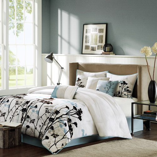 Home Essence Blake 7-Piece Bedding Comforter Set, Blue