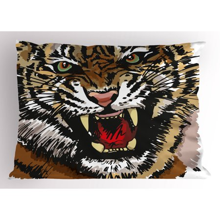 Tiger Pillow Sham Digital Drawing of Large Feline Sketch Style Angry Big Cat with Intense Eyes Print, Decorative Standard Queen Size Printed Pillowcase, 30 X 20 Inches, Multicolor, by Ambesonne