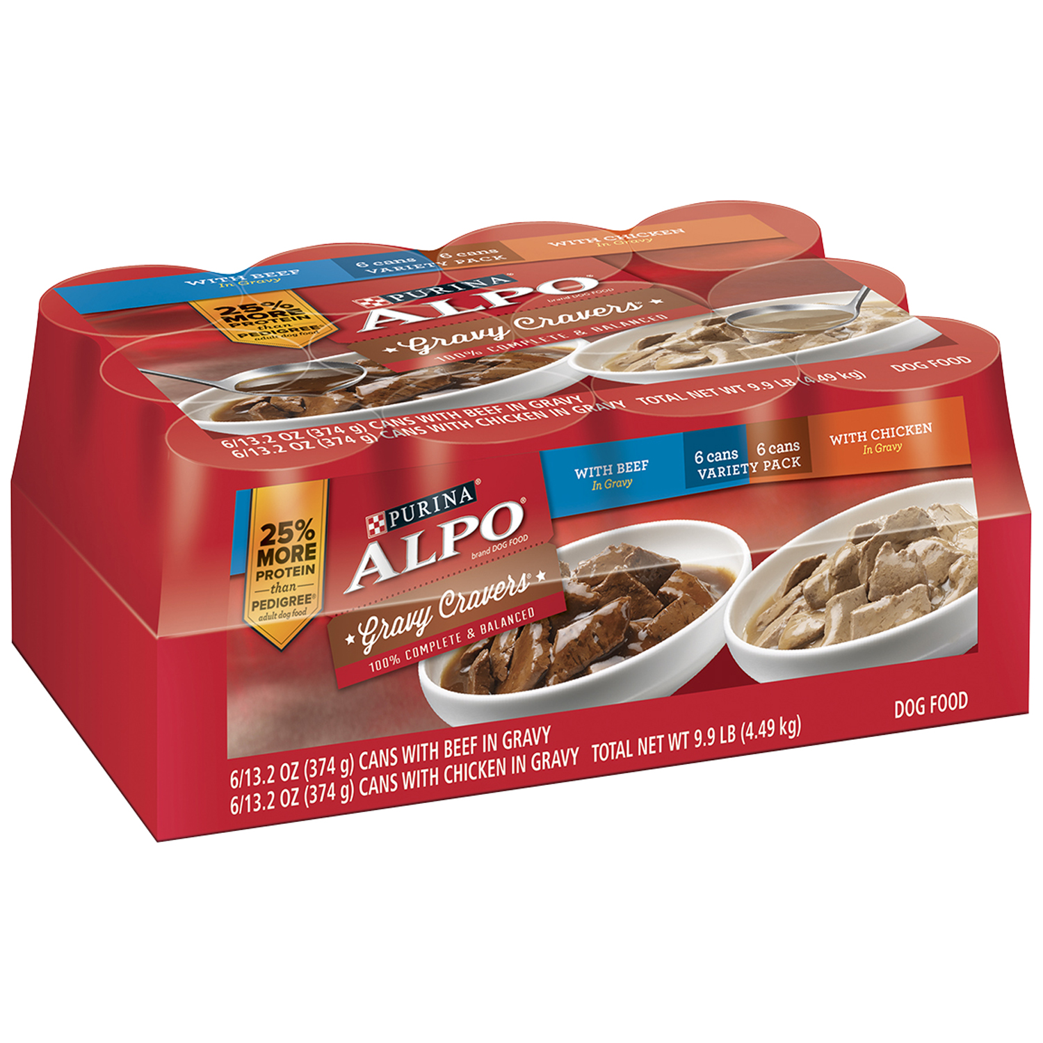 Purina ALPO Gravy Cravers Variety Pack Dog Food Case of 12-13.2 oz. Cans