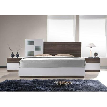 Modern Walnut Veneer & White Lacquer Platform King Bedroom Set 3Pc J&M Sanremo A