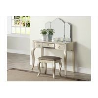 Tri-fold Mirror Vanity Table with Stool Set, Silver