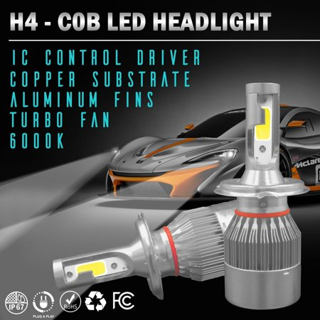 Wideskall® H4 OSRAM COB LED Headlight Bulb Conversion Kit 6000K High Low Beam Hi-Lo Bulbs