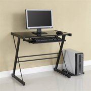 Solo Computer Desk w Black Glass and Metal Frame