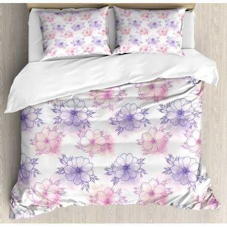 Anemone Flower King Size Duvet Cover Set, Artistic Hand Drawn Anemone Floral Pattern Serene Spring Meadow Theme, Decorative 3 Piece Bedding Set with 2 Pillow Shams, Purple Pink Peach, by Ambesonne
