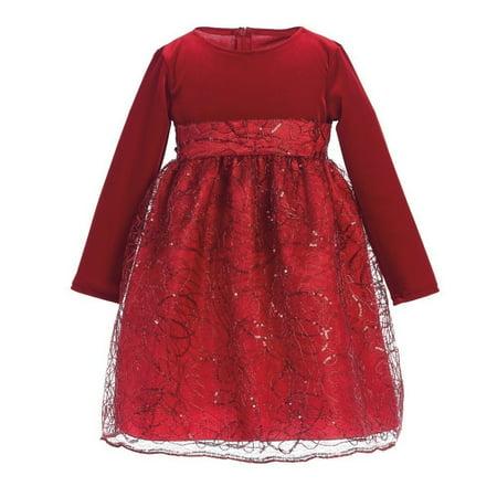 a659a4818e86 Sophias Style - Lito Baby Girls Red Glitter Velvet Corded Sequin Christmas  Dress 6-24M - Walmart.com