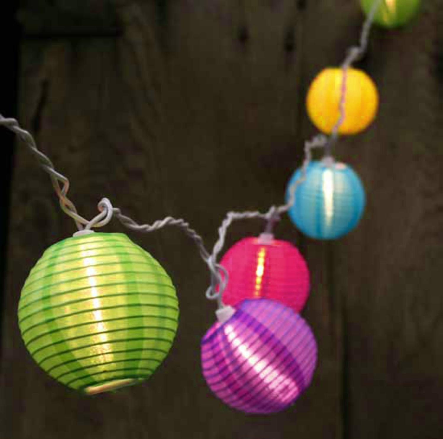 Set of 10 Bright and Colorful Round Chinese Lantern Patio Lights - White Wire