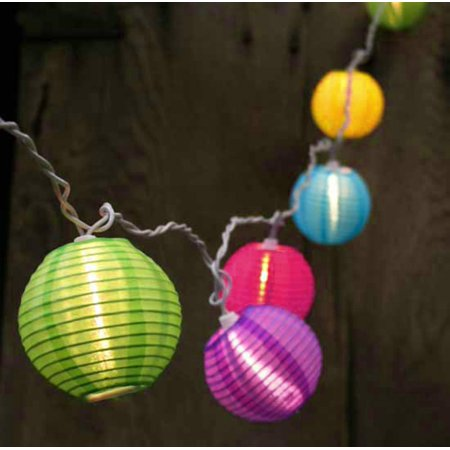 Set Of 10 Bright And Colorful Round Chinese Lantern Patio