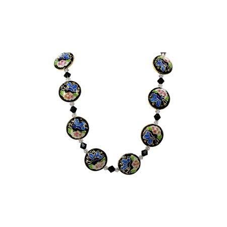 Jolees Jewels Swarovski Elements - Gem Avenue Sterling Silver Black Cloisonne Bead Necklace 20 inch with Swarovski Elements Crystal