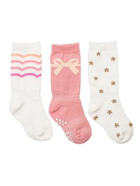 Cheski Baby Girls' Knee Socks Stay Put on Baby's Kicking Legs ~ Pretty 3 Pairs (9-18 Months)