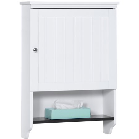 Best Choice Products Bathroom Wall Mounted Hanging Storage Cabinet Furniture w/ Open Shelf, Versatile Door - White (Through Door Wall Mount Cabinet)