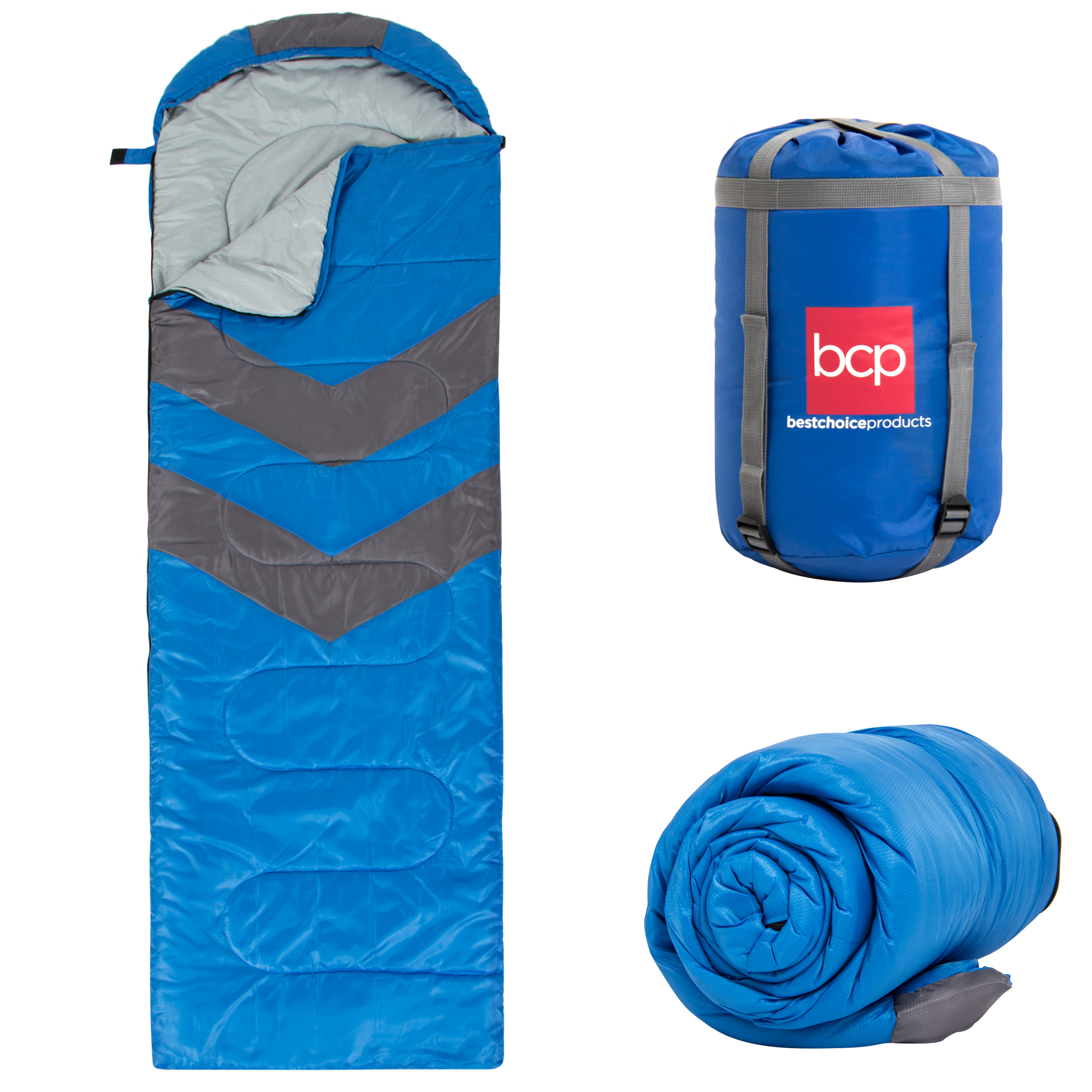 Best Choice Products 4-Season Water-Resistant 20F Portable Envelope Sleeping Bag Compression Sack Carrying Case by Best Choice Products