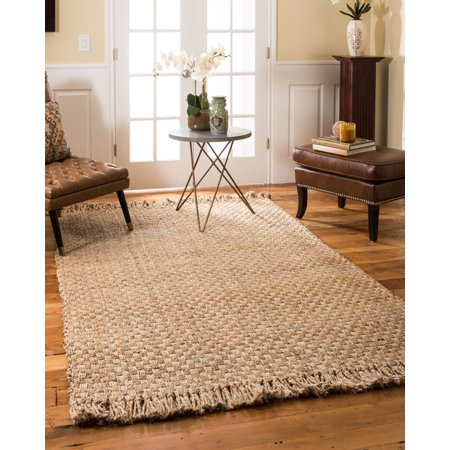 Natural Area Rugs 100% Natural Fiber Handmade Reversible Basketweave Chunky Carlisle Jute Rectangular Rug (4