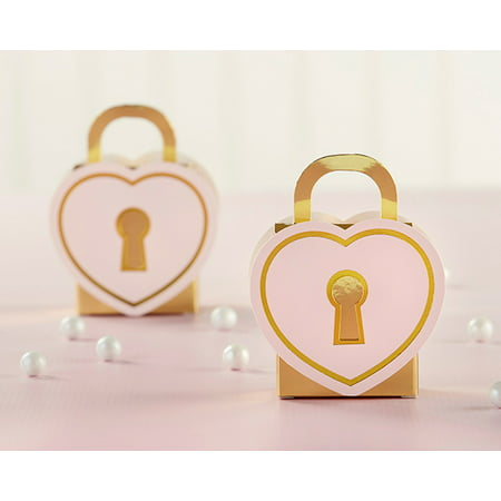 Love Lock Favor Box (Set of 48) - Perfect Favor Container & Decoration for Bridal Showers or Weddings - Bridal Shower Favor Tags
