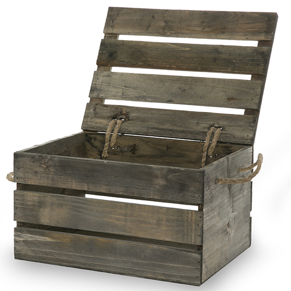 Garden Winds Antique Grey Wooden Crate Storage Box with Lid - Medium 11in  sc 1 st  Walmart & Garden Winds Antique Grey Wooden Crate Storage Box with Lid - Medium ...