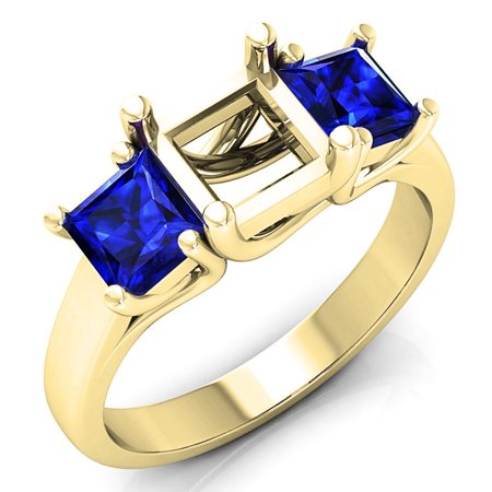 Sapphire Semi Mount - 1.40 Carat (ctw) 18K Yellow Gold Princess Cut Blue Sapphire Ladies Semi Mount Bridal Engagement Ring (No Center Stone)