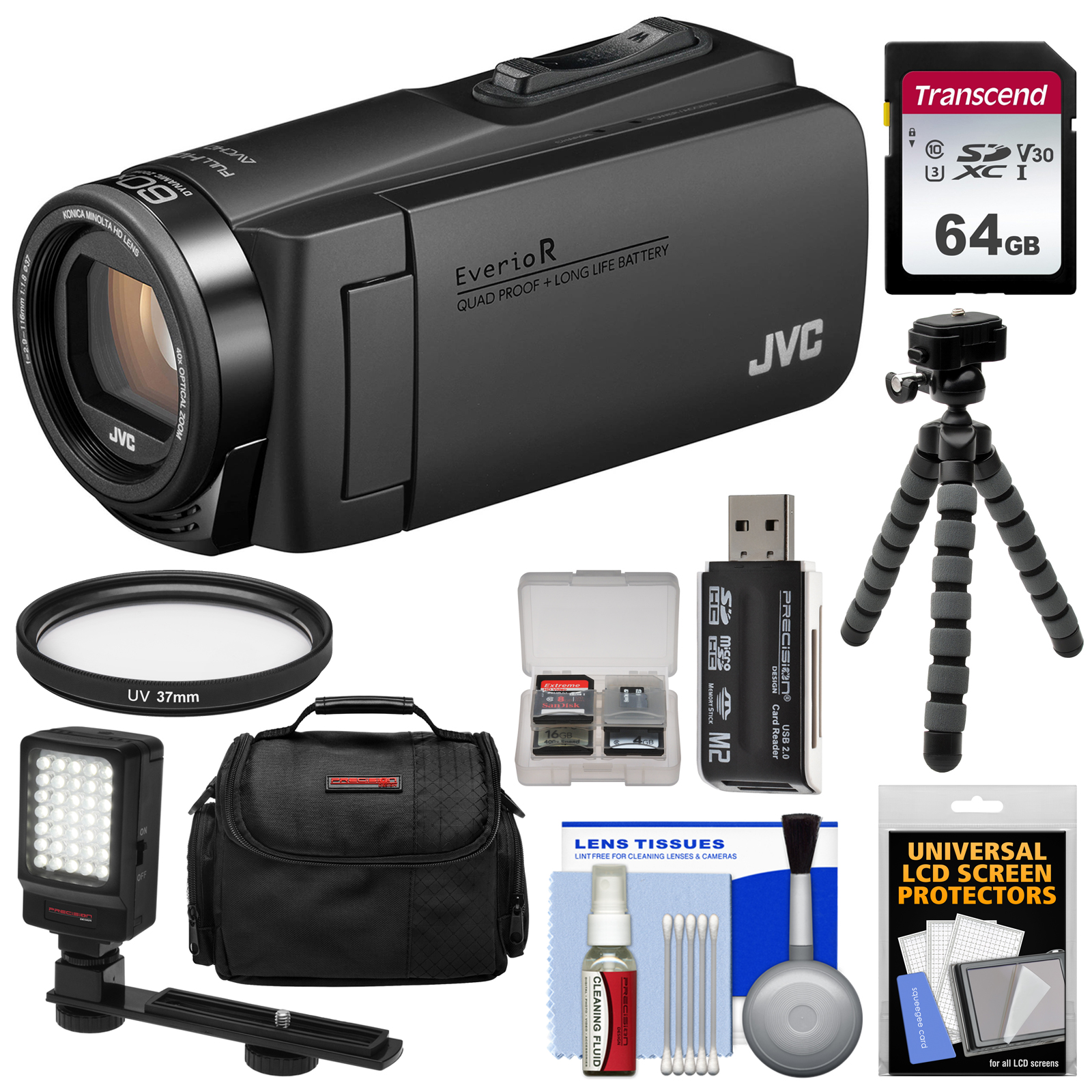 JVC Everio GZ-R460 Quad Proof 1080p HD Video Camera Camcorder (Black) with 64GB Card + LED Light + Case + Tripod + Kit