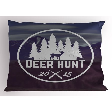 Hunting Pillow Sham Deer Hunt Emblem Design Pines with Antler Silhouette Rifles Snowy Mountains, Decorative Standard Size Printed Pillowcase, 26 X 20 Inches, Brown Blue White, by - Pillow Pine Mountain Designs