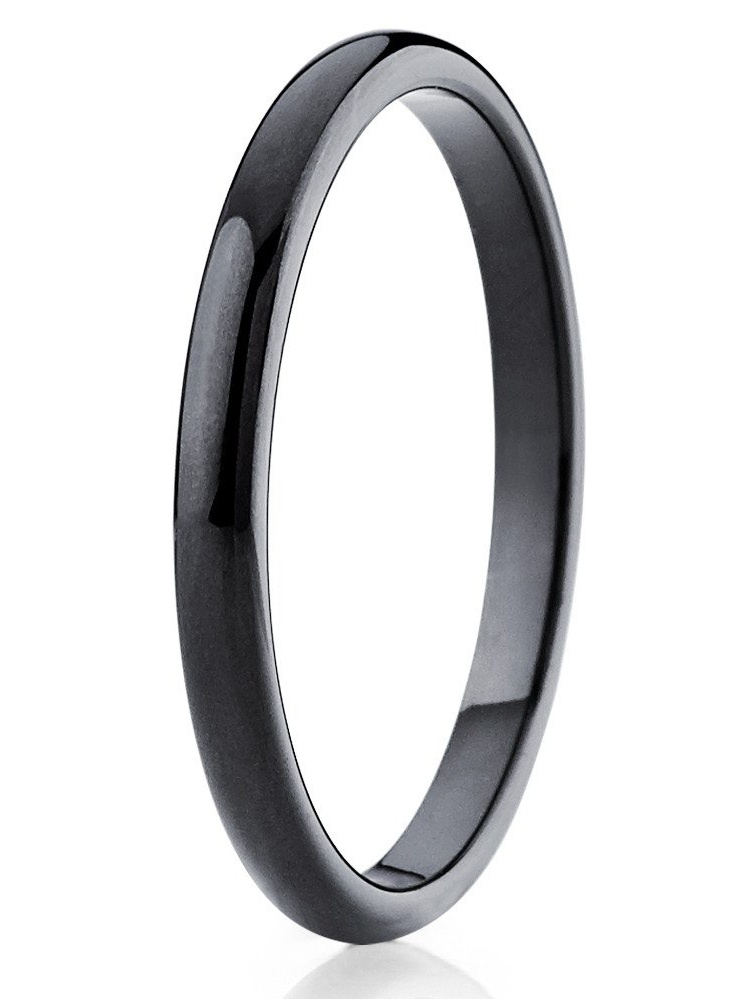 Tungsten Carbide Ring Tungsten Promise Ring women 2mm Tungsten Promise Ring women Domed Classic Wedding Band Black Gold Silver Color