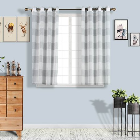 Efavormart 2 Panels Faux Linen Sheer Window Drapery Stripe Window Treatment Grommet Curtain For Window Wall Decoration 52
