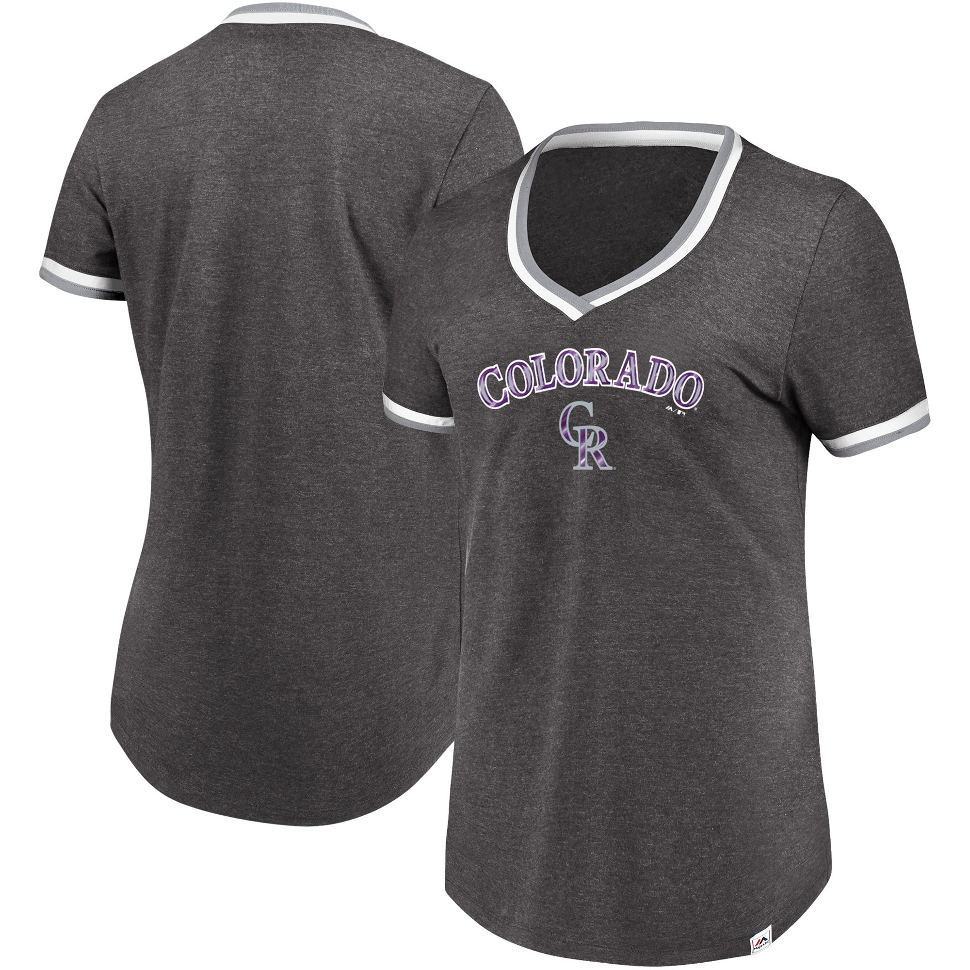 Colorado Rockies Majestic Women's Driven By Results T-Shirt - Charcoal