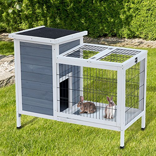 Tucker Murphy Pet Gaviota Wooden Outdoor Rabbit Hutch Elevated Bunny Cage with Enclosed Run