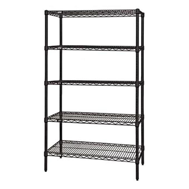 Quantum Storage WR63-1824BK-5 5-Shelf Black Wire Shelving Unit, 18 x 24 x 63 in.