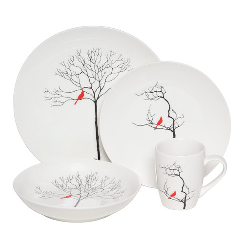 Melange Premium Three Calling Birds 16 Piece Dinnerware, Service for 4