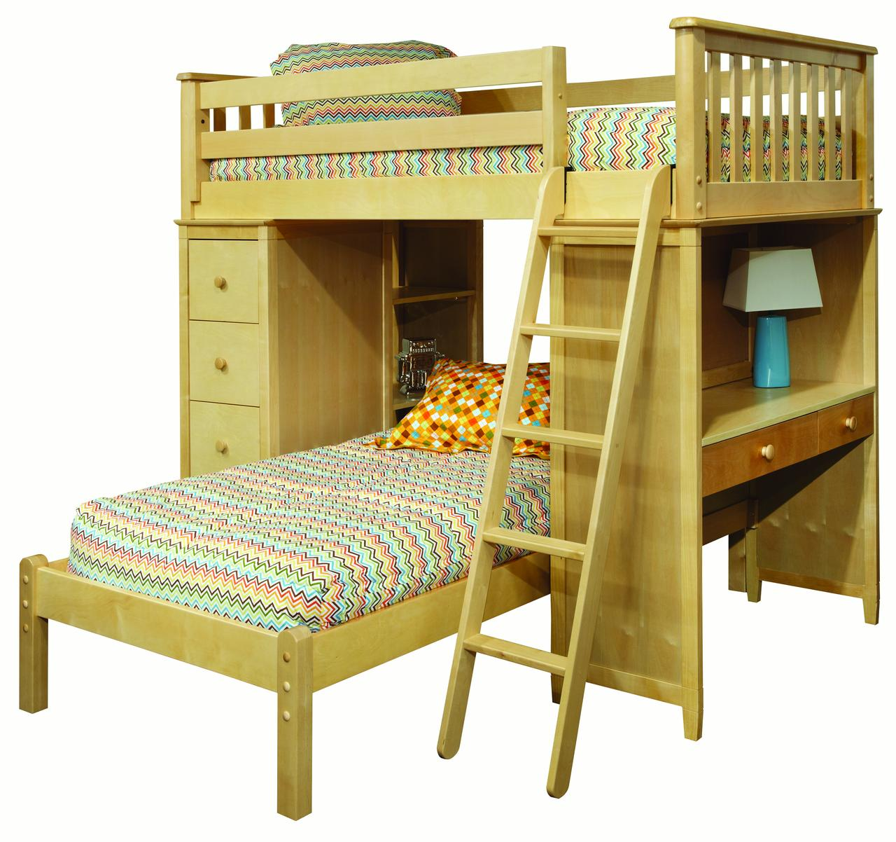 Mission SSS Loft Bed with Desk, Bookcase, Drawers and Lower Platform Twin Bed, Natural