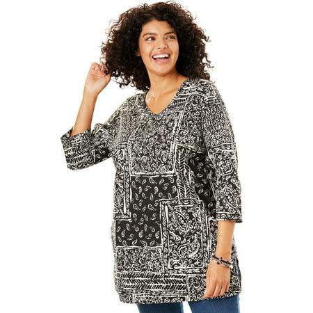 - Plus Size Printed V-neck Perfect Tunic