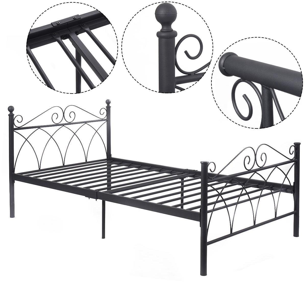 "78""x42""x34"" Black Steel Twin Size Bed Frame Platform Foundation Furniture"