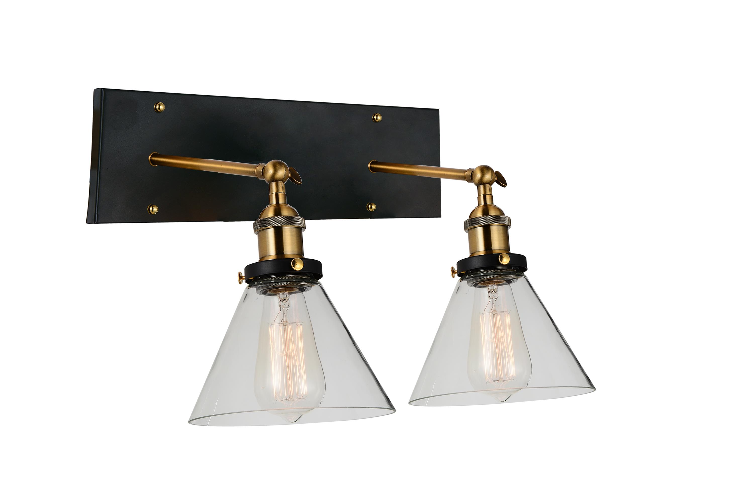 Viva Lifestyle Lighting 2 Light Wall Sconce Black Gold Brass Finish Walmart Canada