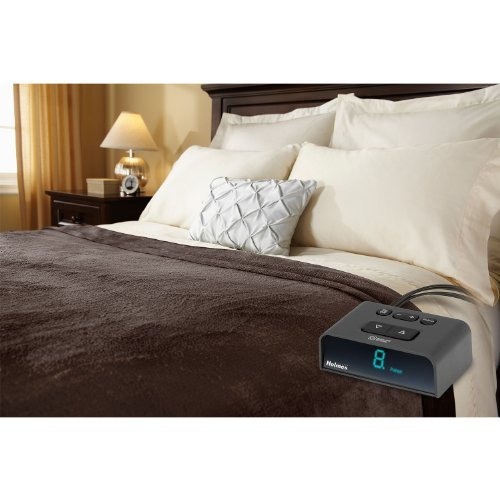 Holmes Sunbeam - King Size Heated Blanket - Luxurious Velvet Plush with 2 Digital Controllers 10 Heat Settings 5yr Warranty - Brown