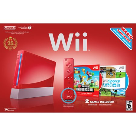 Nintendo Wii Limited Edition Red Console with Wii Sports and New Super Mario Bros