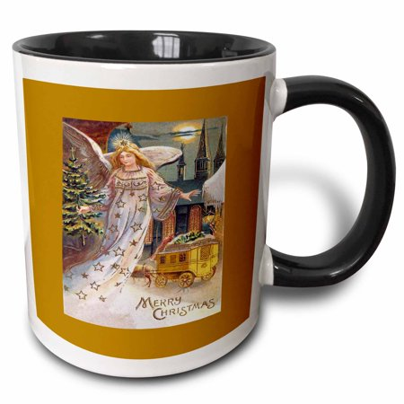 3dRose Christmas Angel with a Small Tree, Horse and Carriage in the Snow - Two Tone Black Mug, 11-ounce 4 Christmas Tree Mugs