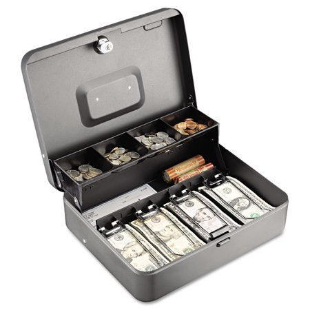 Steelmaster Tiered Cash Box With Bill Weights  12   Cam Key Lock  Charcoal