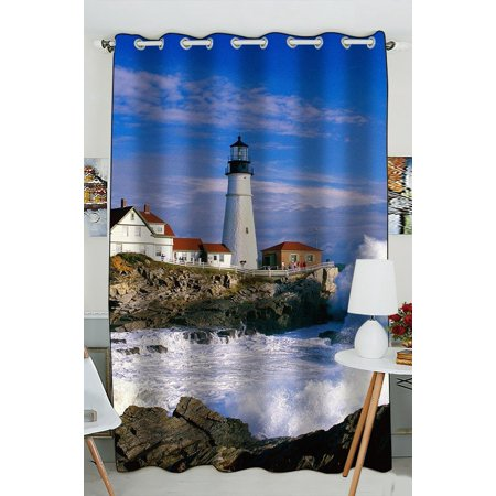 GCKG Lighthouse and Wave Beautiful Scene Blackout Curtains Window treatment Panel Drapes 52(W) x 84(H) inches (One Piece)
