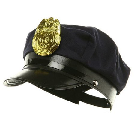 Novelty Costume Police Cop Black Hat with Plastic Badge Halloween Accessory - Costume Badges