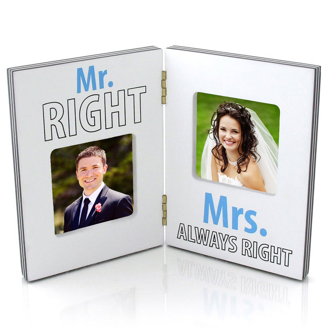Mr & Mrs Right Folding Picture Frame Wedding Anniversary Gift His Hers 3x3 Photo