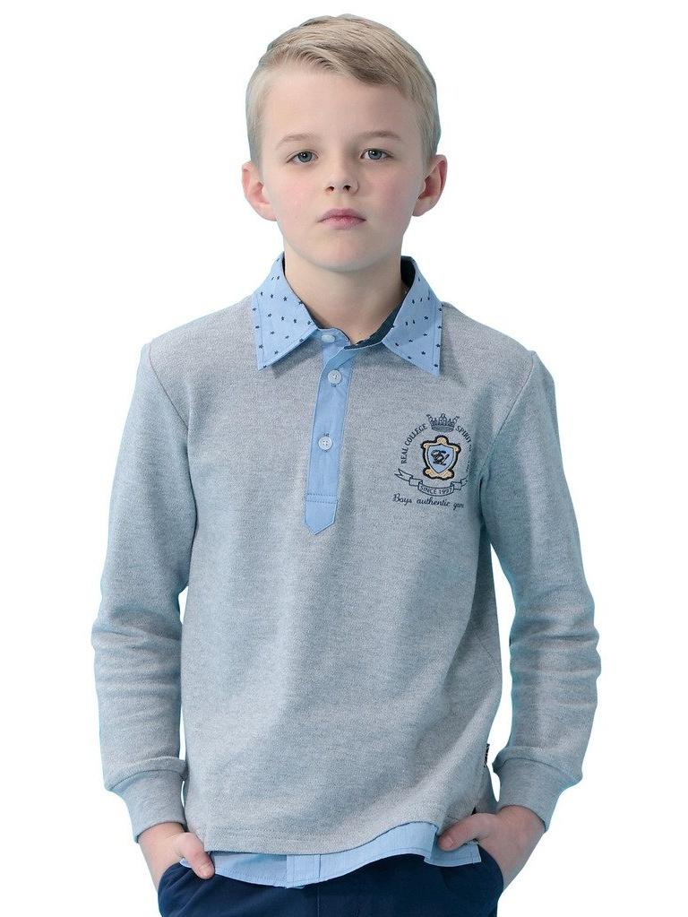 Leo&Lily Boys' Kids Long Sleeves Embroidery Contrast Polo Shirts (Blue, 12)