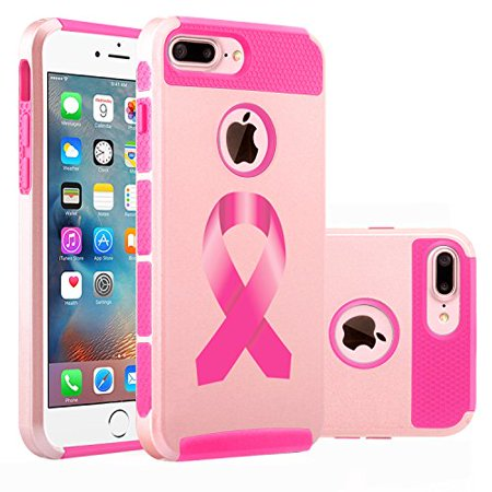 For Apple iPhone (7 Plus) Shockproof Impact Hard Soft Case Cover Breast Cancer Color Awareness Ribbon (Rose Gold-Hot Pink)