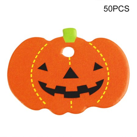 Halloween Themed Crafts Preschool (50PCS Halloween Theme Series Shape Hanging Label Decoration)