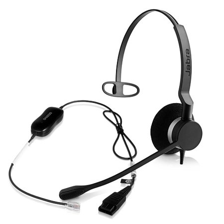 Jabra BIZ 2300 Mono QD Corded Breath Resistant Microphone Headset w/ GN1200 Smart (Gn1200 Cord)
