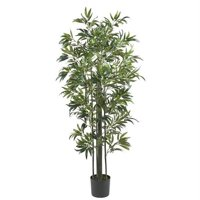 6 ft. Bamboo Silk Tree Green Trunks