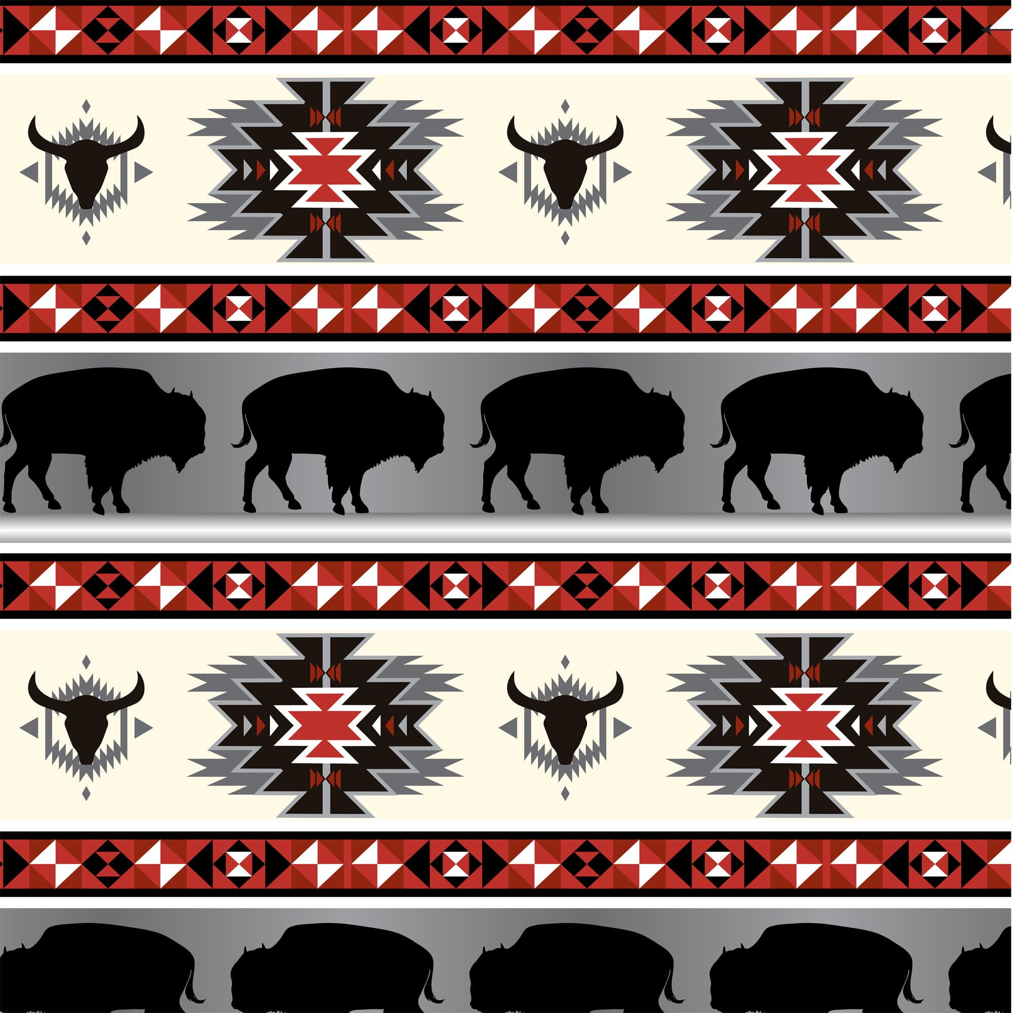 "David Textiles Fleece 36"" x 60"" Anti-Pill Buffalo Tribal Red & Grey Fabric, 1 Each"