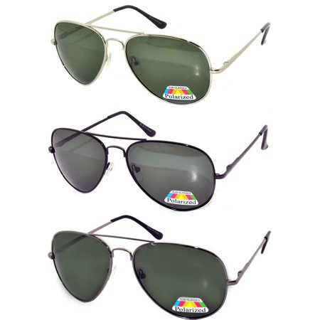 Polarized Aviator Style Sunglasses Colored Metal Frame OWL (3 Pack) - Make Your Own Sunglasses