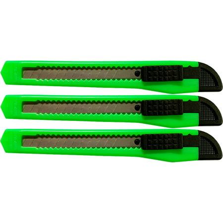 3 Neon Green Utility Knife Box Cutters Heavy Duty Industrial Strength