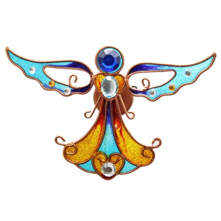 Amber and Aqua Colored Stained Glass Angel Magnet Colored Glass Tile Magnets