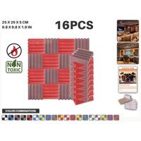 """Acepunch Red and Burgundy 9.8"""" x 9.8"""" x 1.9"""" Wall Studio Wedge Acoustic Foam Sound-Absorbing Tile Panel 16 pcs"""