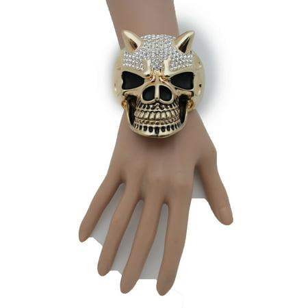 Women Gold Big Devil Horn Skull Metal Hand Fashion Cuff Bracelet Gothic Skeleton (Gold Devil Horns)